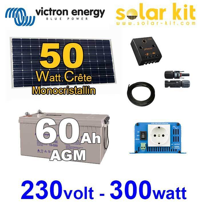 kit solaire 50wc victron pour appareils 230v 300w. Black Bedroom Furniture Sets. Home Design Ideas