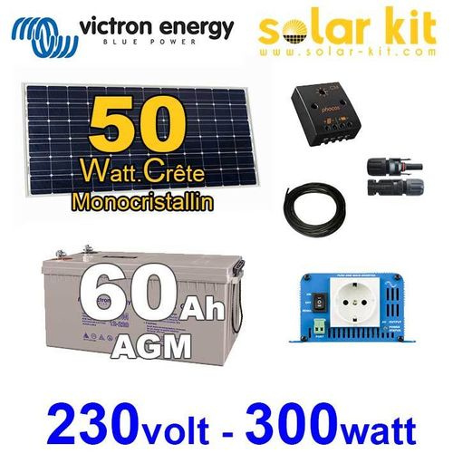 Solar kit 50Wp - AC 230V/300W