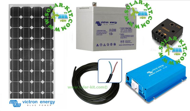 kit solaire photovolta que alimentation autonome 220v 300w. Black Bedroom Furniture Sets. Home Design Ideas