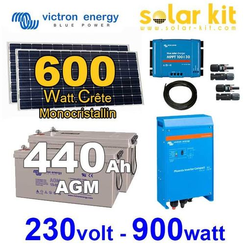 Solar kit Victron 600Wc + inverter 230V 900W