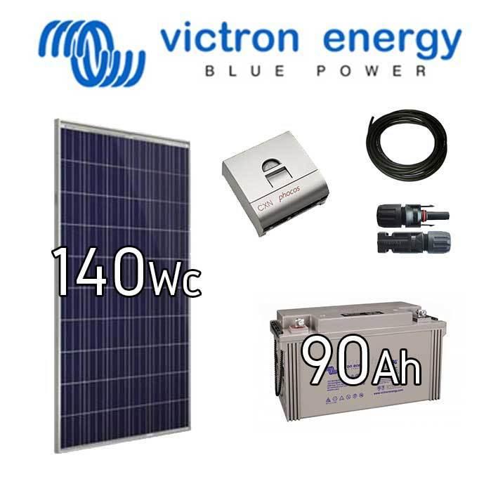 kit solaire photovolta que victron 12v 140wc batterie 90ah. Black Bedroom Furniture Sets. Home Design Ideas