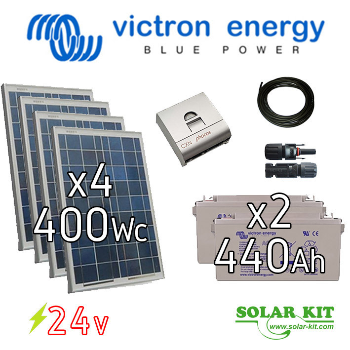 Solar kit stand alone 24V 400Wp + batteries 440Ah