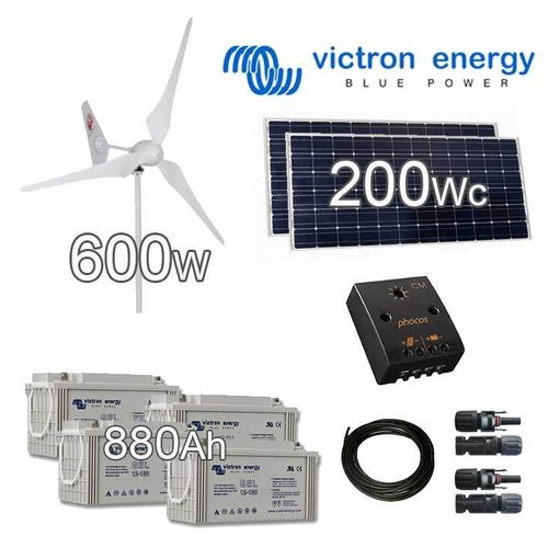 Hybrid Solar wind kit 24V (wind turbine 600W + solar panels 200Wp)
