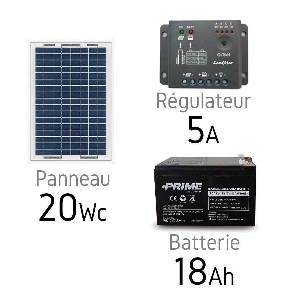 kit solaire photovoltaique 12v 20wc batterie 18ah. Black Bedroom Furniture Sets. Home Design Ideas