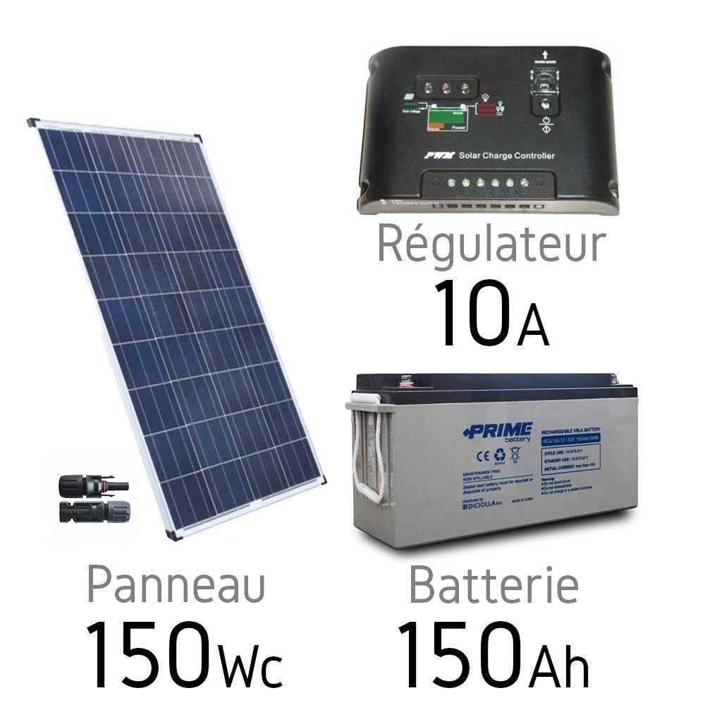 kit solaire photovoltaique 12v 150wc batterie agm 150ah. Black Bedroom Furniture Sets. Home Design Ideas