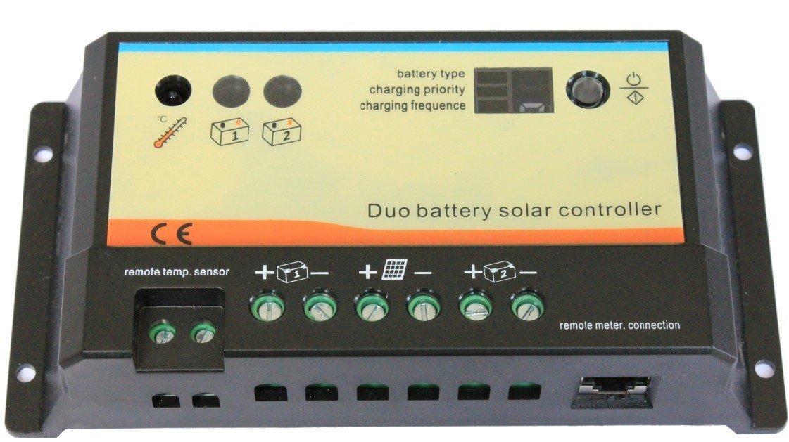 r gulateur de charge 20a 12 24v avec deux sorties pour deux batteries pour camping car pt. Black Bedroom Furniture Sets. Home Design Ideas