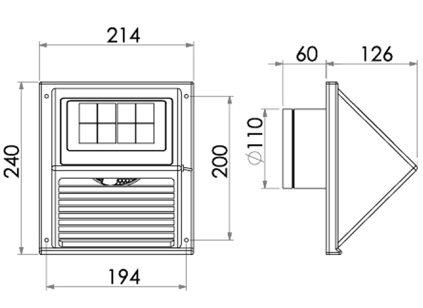 Ventilateur aérateur solaire de façade 60m3h nuit et jour avec batterie et panneau solaire amovible