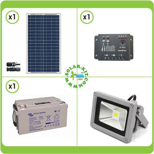 kit solaire d 39 clairage ext rieur 50wc deux projecteurs 10w ip65 pour 7 heures par jour de. Black Bedroom Furniture Sets. Home Design Ideas