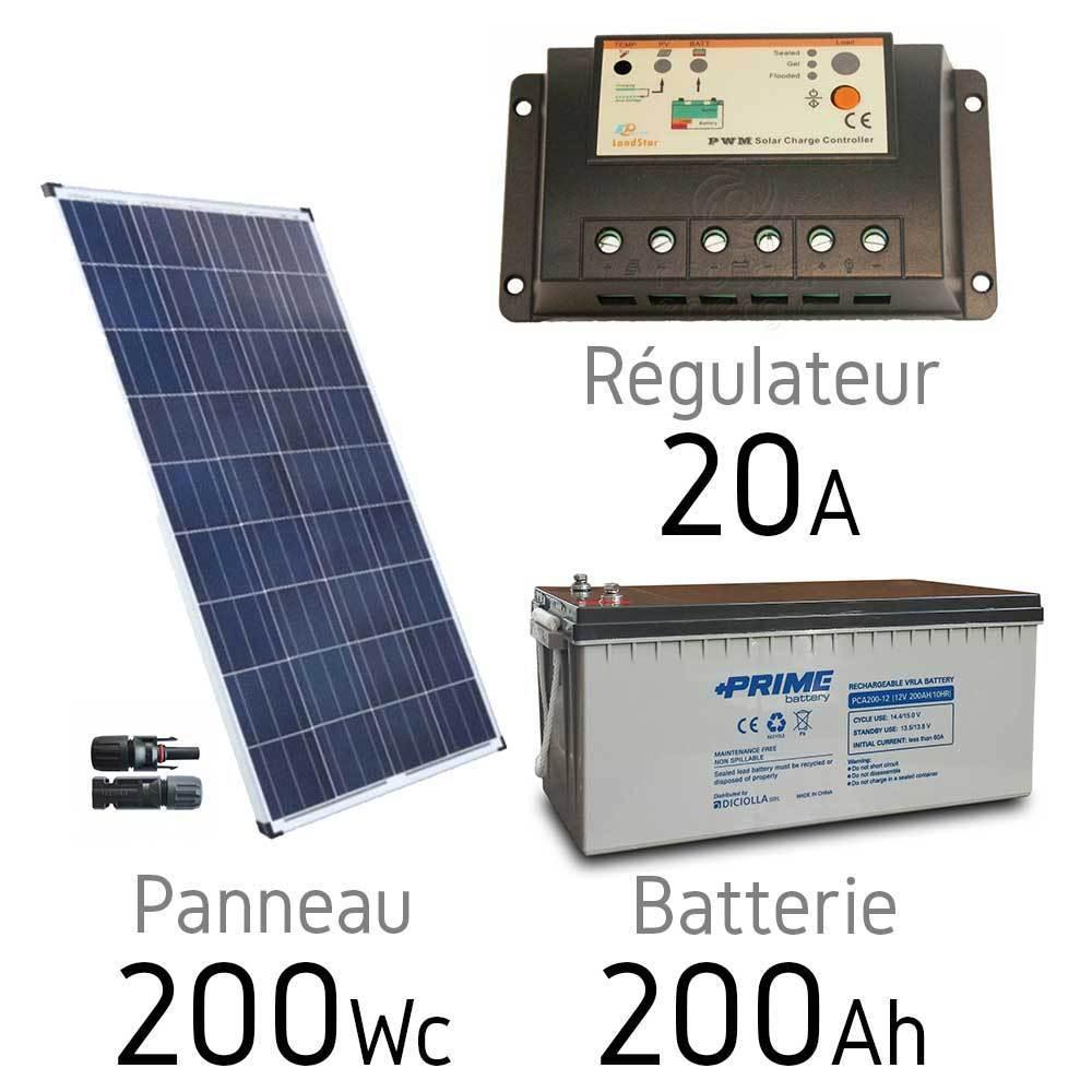 kit solaire photovoltaique 12v 200wc batterie agm 200ah. Black Bedroom Furniture Sets. Home Design Ideas