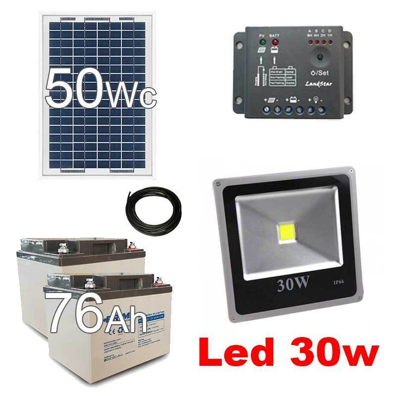 kit solaire 50wc spot led ext rieur 30w solar kit. Black Bedroom Furniture Sets. Home Design Ideas