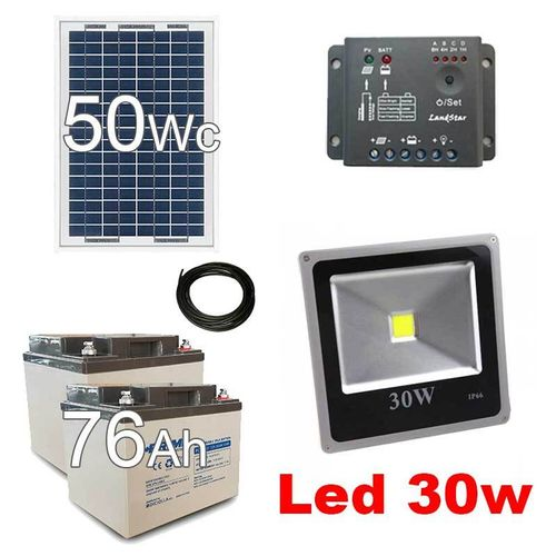 Solar kit 50Wc - outdoor spot led 30W