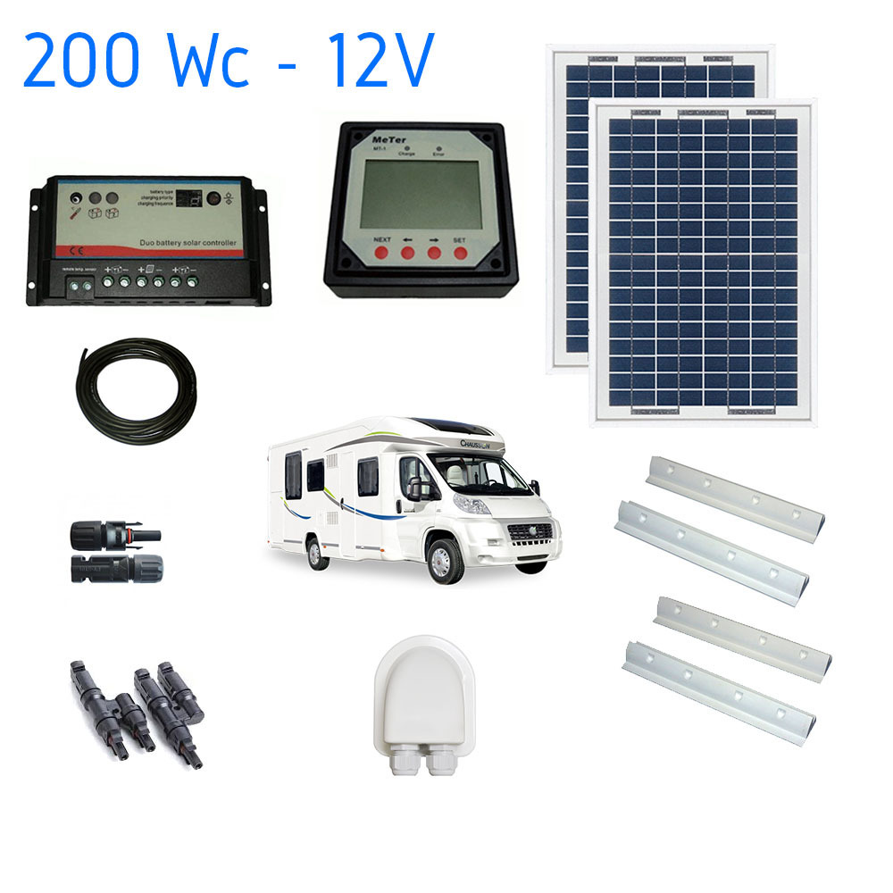kit solaire camping car plus 200w solar kit. Black Bedroom Furniture Sets. Home Design Ideas