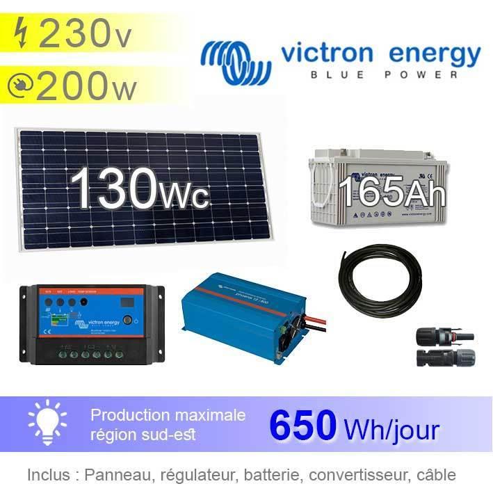 kit panneau solaire photovolta que 130wc victron pour appareils 230v 200w. Black Bedroom Furniture Sets. Home Design Ideas