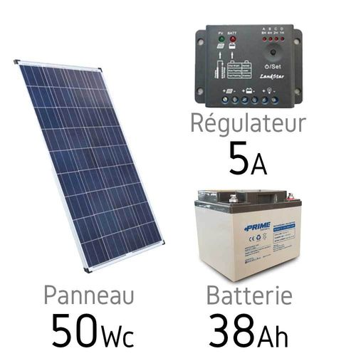 Solar kit 12v 50Wc + battery 38Ah