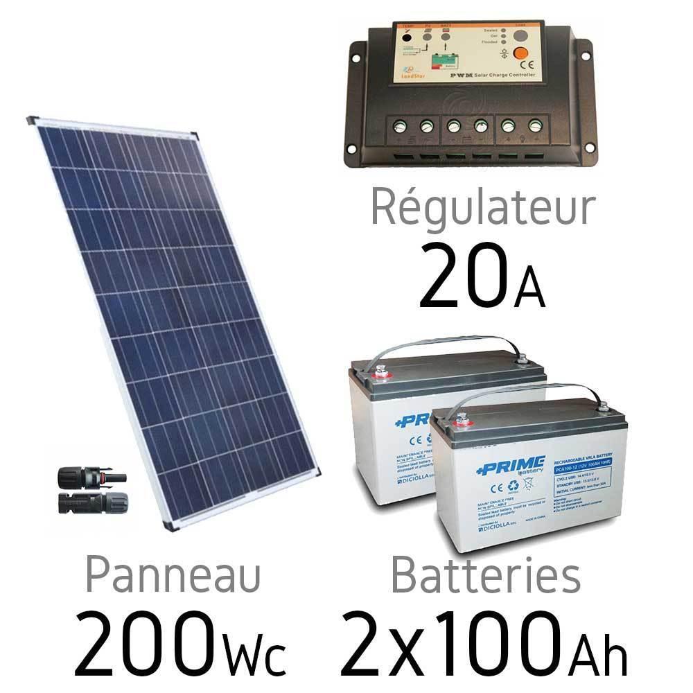 kit solaire 12v 200wc batteries 2x100ah. Black Bedroom Furniture Sets. Home Design Ideas