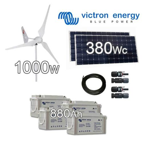 Hybrid Solar wind kit 24V 1380Wp (wind turbine 1000W + solar panels 380Wp)