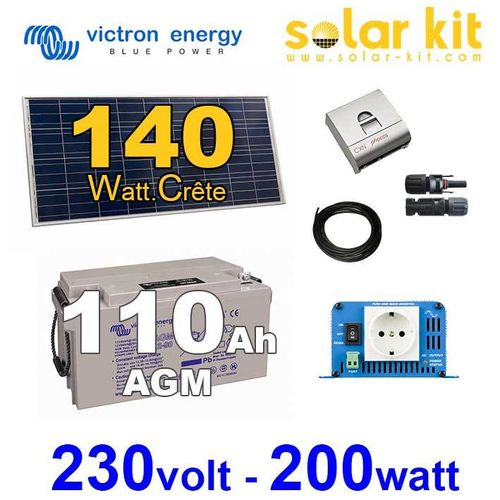 Solar kit 140Wc 110Ah Victron + inverter 230V 200W