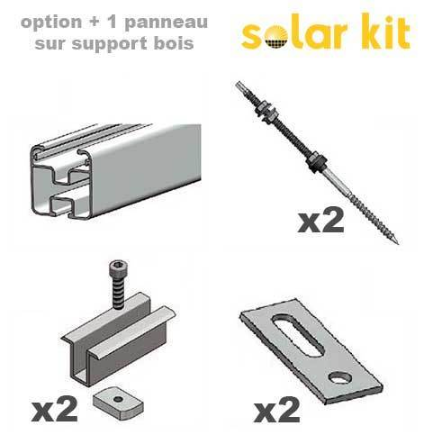 Additional mounting kit for wood structure for 1 more solar panel 35mm