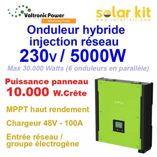 Hybrid Inverter On-Grid 230V 5000W 48V MPPT 10000Wp