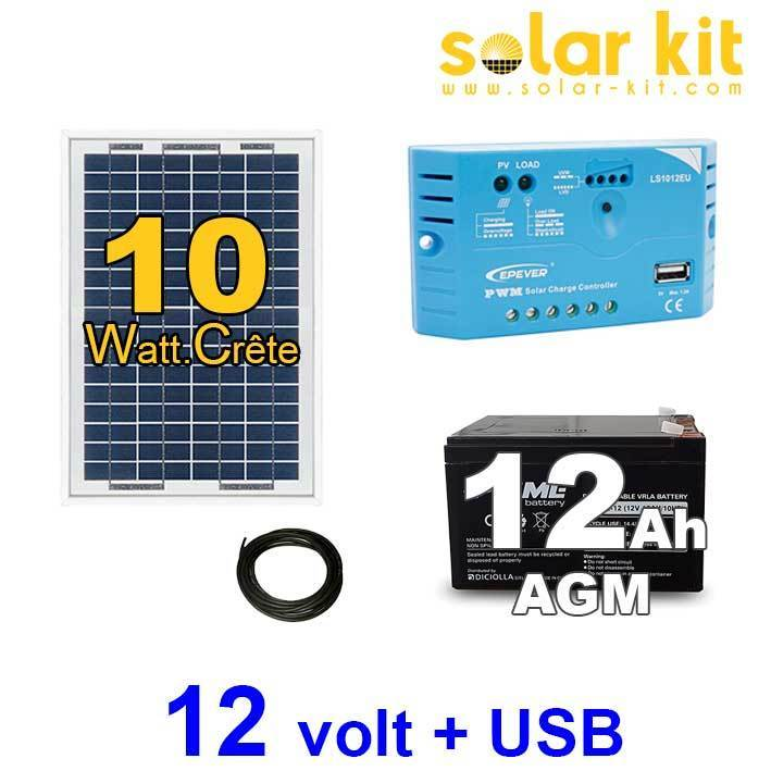 kit solaire photovoltaique 12v 10wc batterie 12ah prise usb. Black Bedroom Furniture Sets. Home Design Ideas