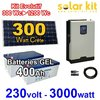 Solar kit 230V 3000W - 300Wc to 1200Wc PWM - GEL batteries