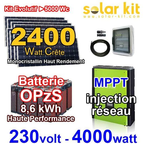 Kit solaire 230V 4000W - 2400Wp MPPT - Batterie à injection OpzS