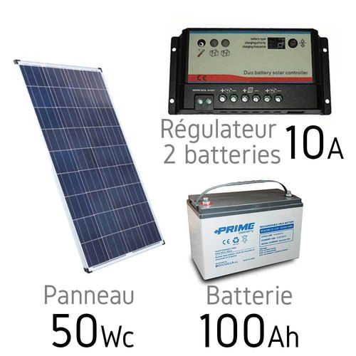 Kit solaire 12v 50Wc + batterie 100Ah - regulateur duo