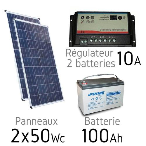 Kit solaire 12v 100Wc + batterie 100Ah - regulateur duo