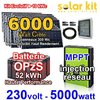 Solar kit on grid 230V 5000W - 6000Wc MPPT - OpzS battery