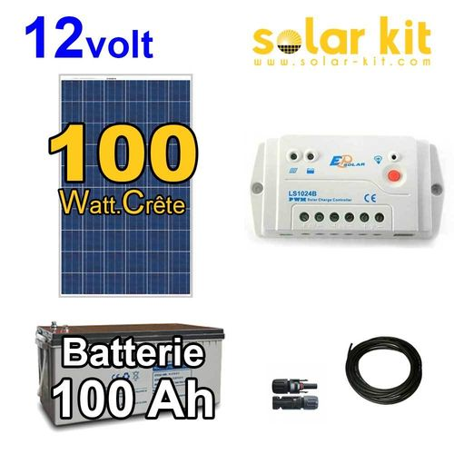 Solar kit 12v 100Wc + battery 100Ah