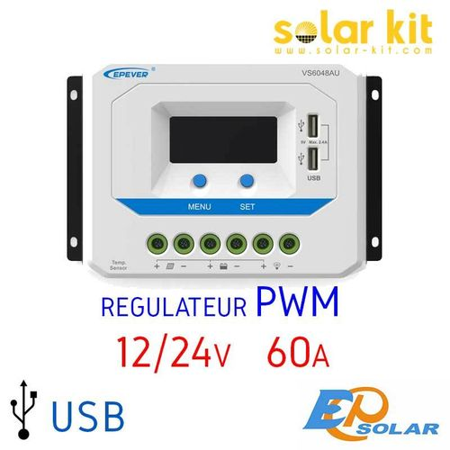 Régulateur de charge 60A 12-24V USB EPSOLAR