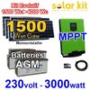 Solar kit 1500Wc to 4000Wc + inverter-charger 230V 3000W MPPT - AGM batteries