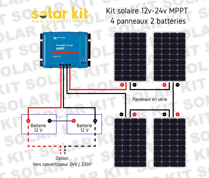kit solaire photovolta que victron 12v 24v 400wc batteries 440ah. Black Bedroom Furniture Sets. Home Design Ideas